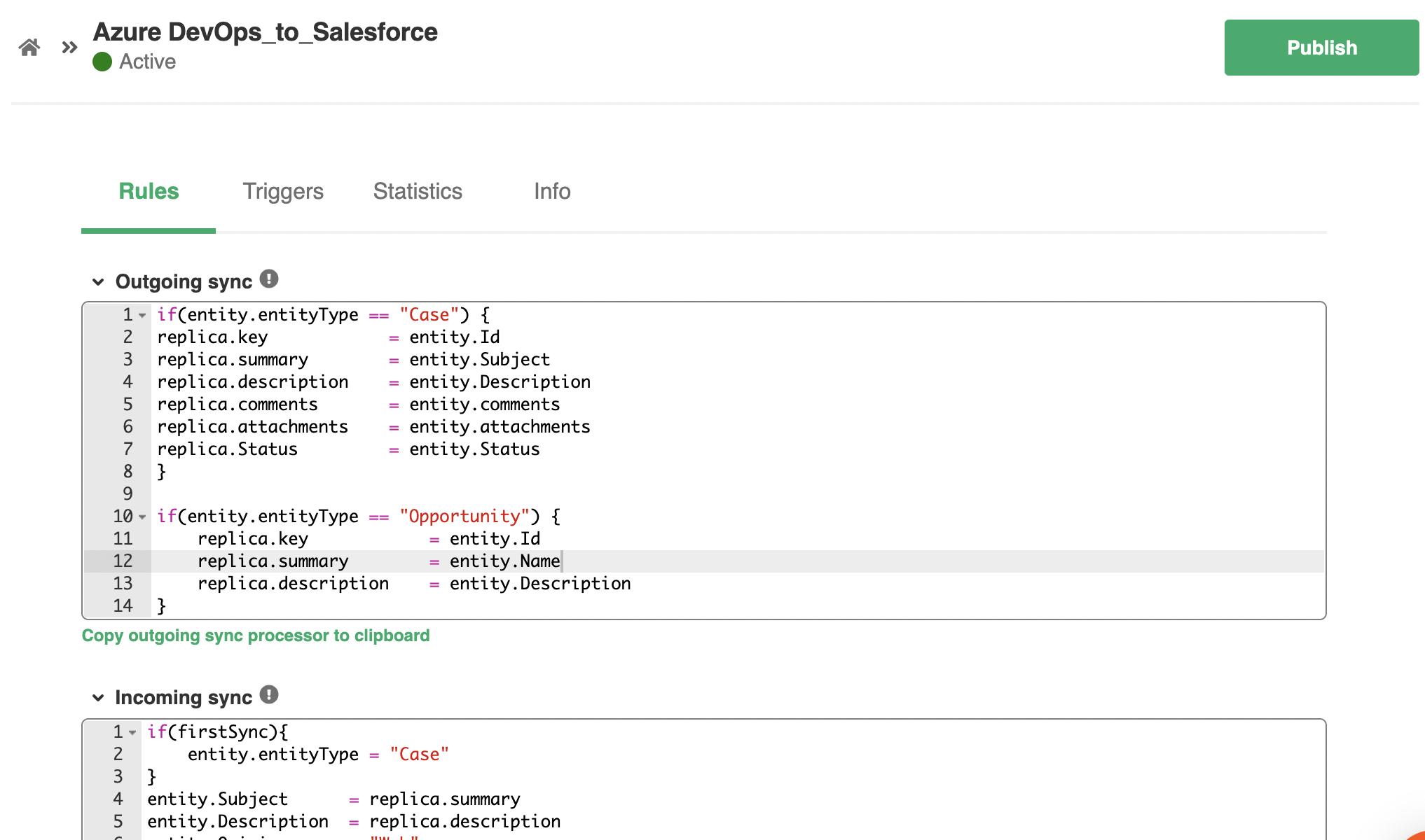 Azure DevOps Salesforce sync rules