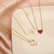 Korean Style New Multi-Style Fashion Titanium Steel Diamond Necklace Heart-Shaped Love Pendant Choker Valentine's Day Gift