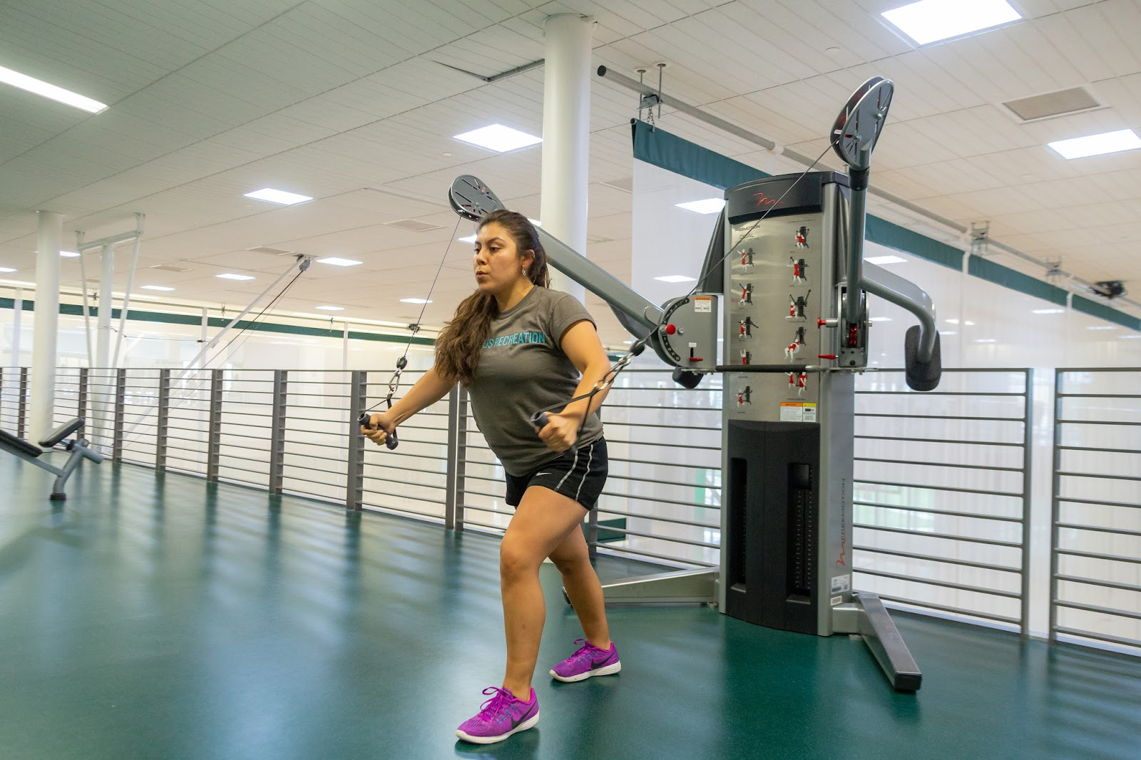 Arellano Rodriguez using workout equipment at the BRIC