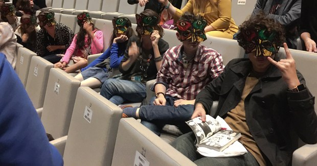 The Junoir Jury in their 3D Blind Vaysha masks at the closing ceremony
