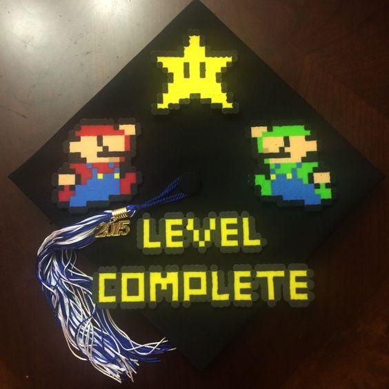 """A graduation cap that reads """"Level complete."""""""