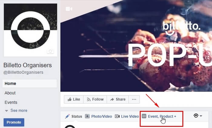 How to create an event on Facebook: Selecting Event | Product