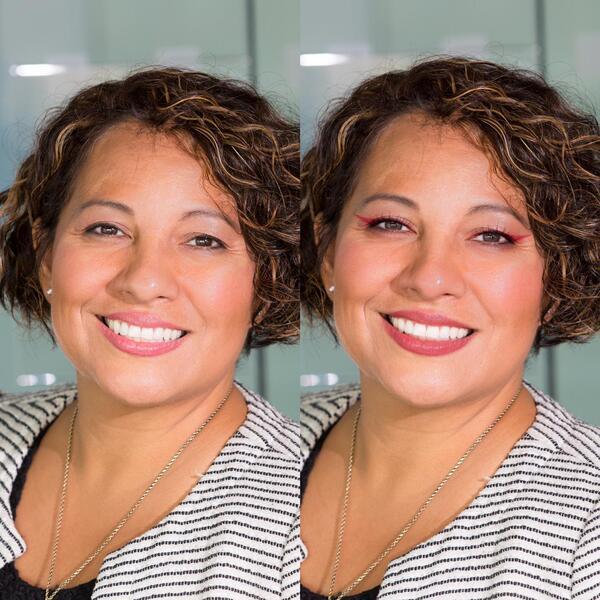 Foto de uma mulher de cabelo curto sendo editada pelo airbrush