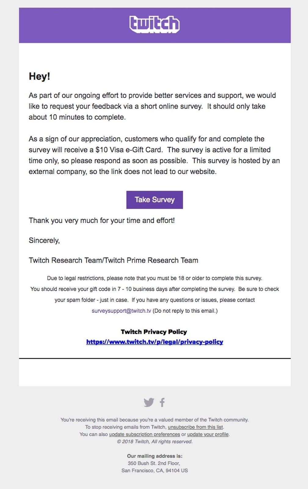 Twitch | testimonial email