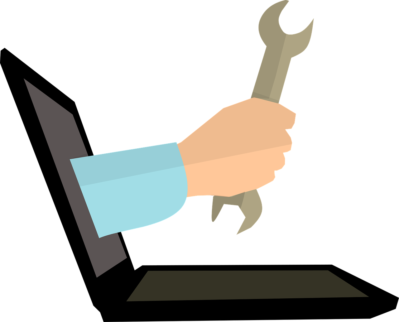A Hand coming out of desktop screen to help fix the issues