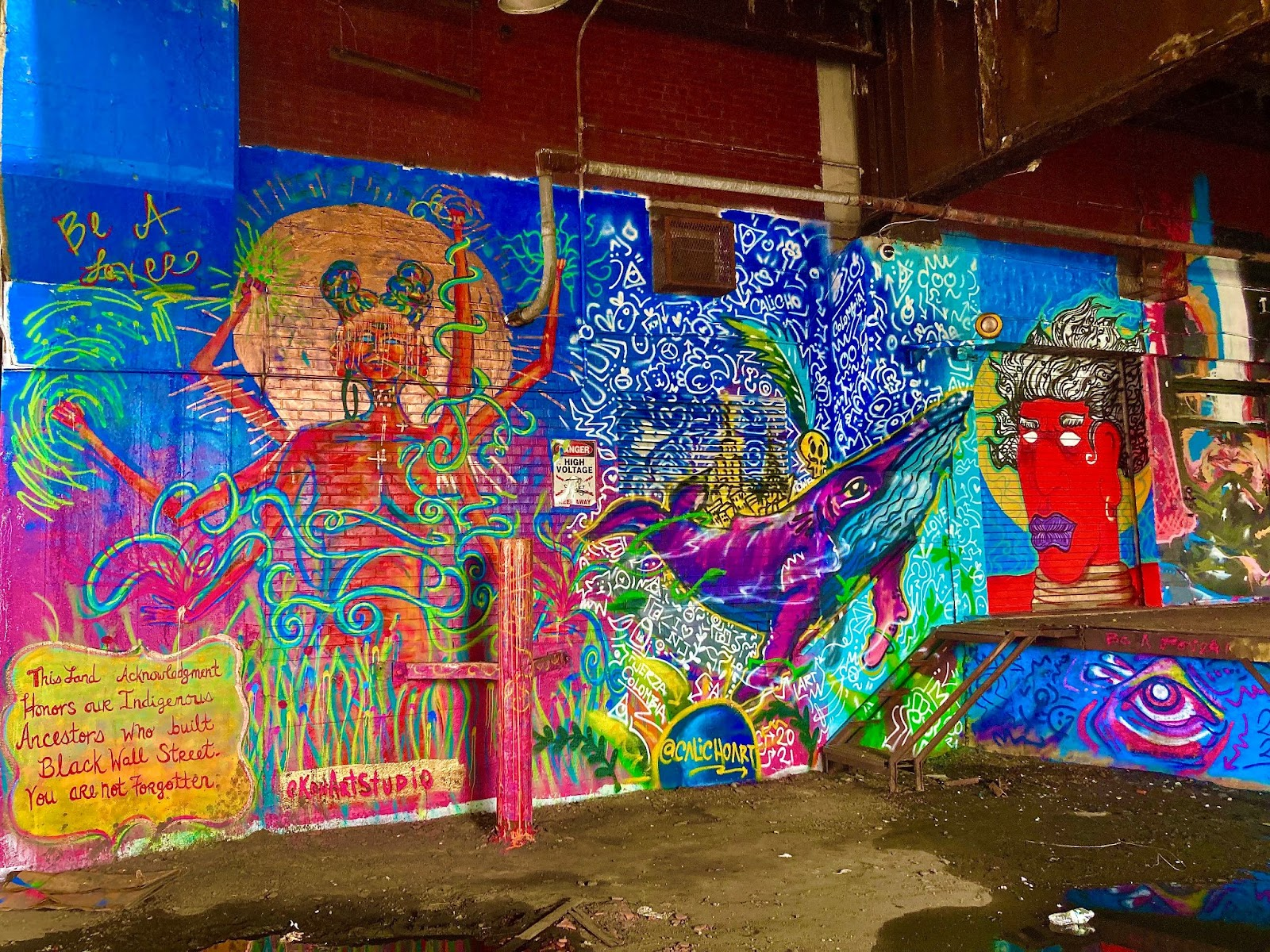 Artwork by Konstance Patton and Calicho Arevalo. Near Monmouth St. & 10th St. Photo by Vittoria Benzine.