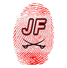 Red thumbprint, JF superimposed