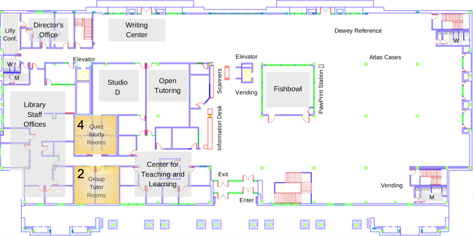 A map of the library's main floor
