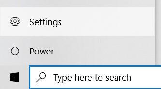 Settings option in Start Menu