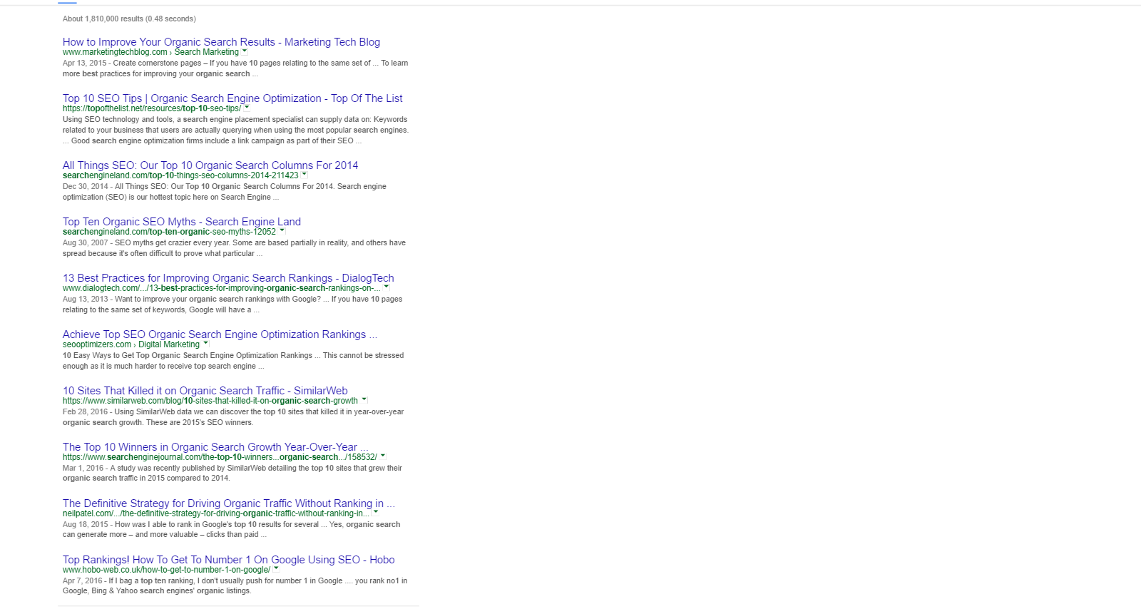 Organic search ranking is the 10 spots that are below the ads on mobile and desktop.PNG
