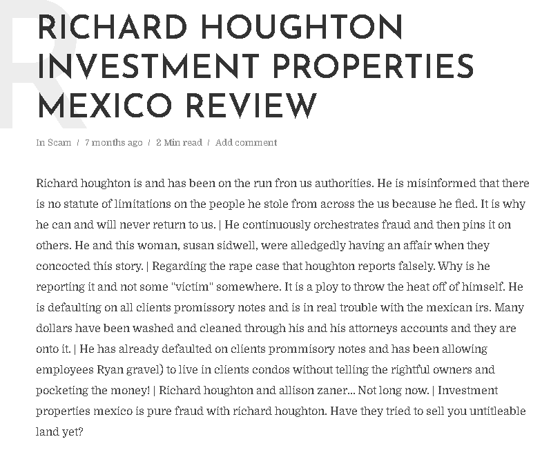 Investment Properties Mexico - Richard Houghton