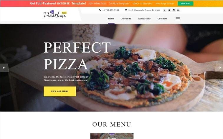 лучший бесплатный шаблон темы ботстрапа веб-сайт пиццерии ресторан