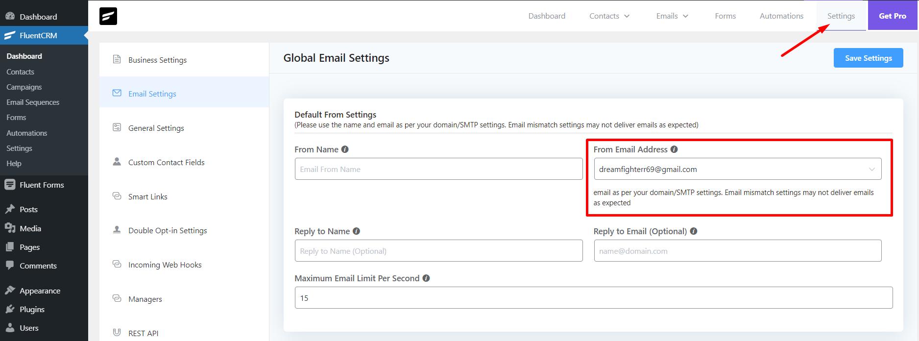 fluentcrm email configuration