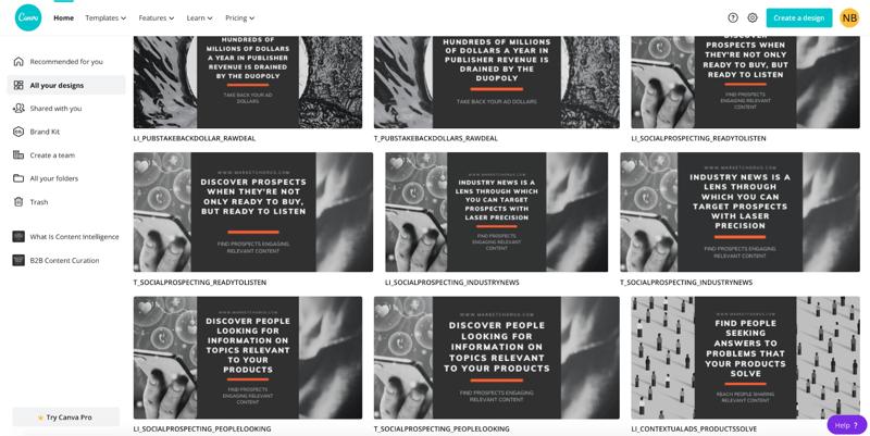ejemplo de captura de pantalla de canva con diseños de imágenes de citas creados para cada publicación en cada plataforma para crear la serie de publicaciones