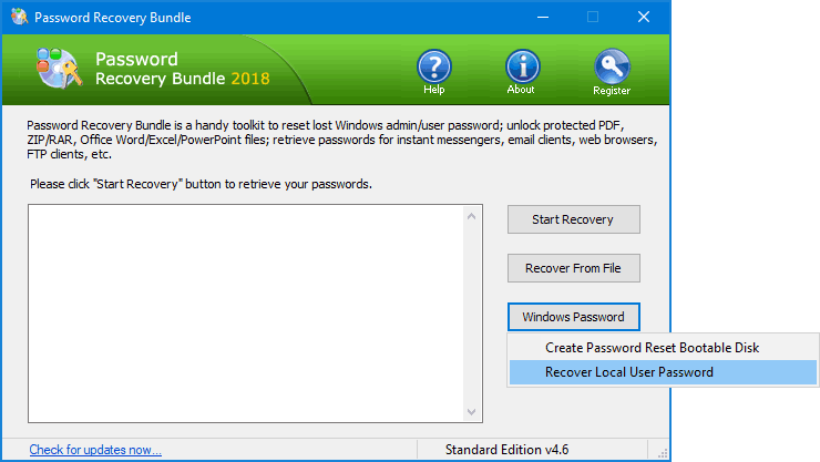 bootable password reset tool