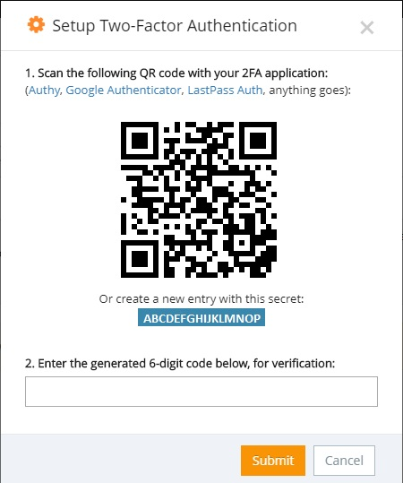 You will have 2 options: scan the QR code or enter the 16-digit generated code.