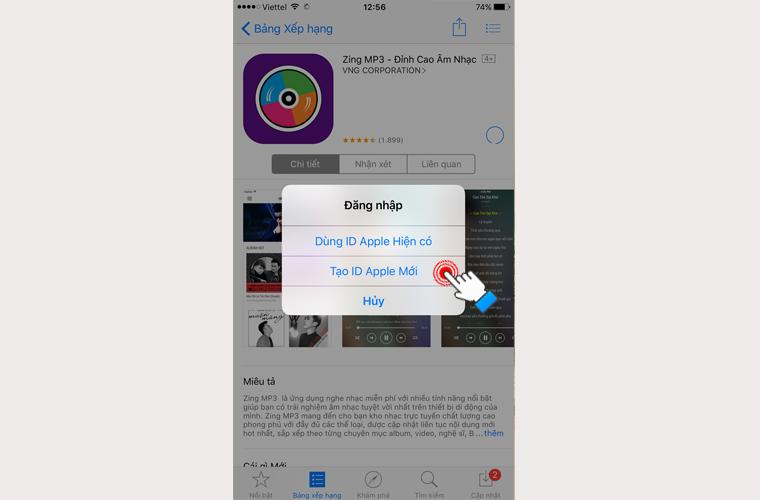 1 bảng thông báo hiện ra bạn chọn Tạo ID Apple Mới