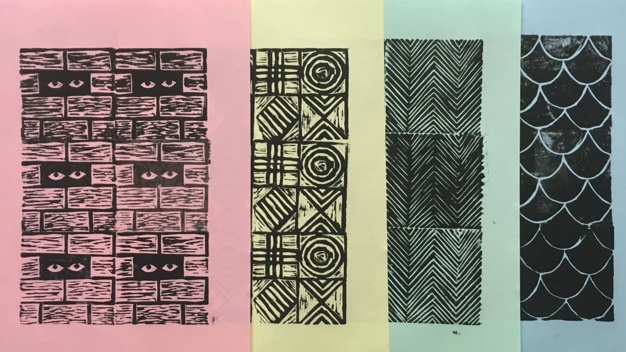 black prints on color paper
