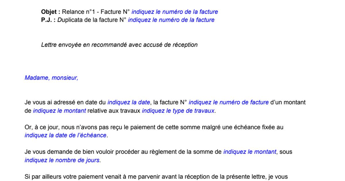 Modele Lettre De Relance Pour Facture Impayee Pdf Google Drive