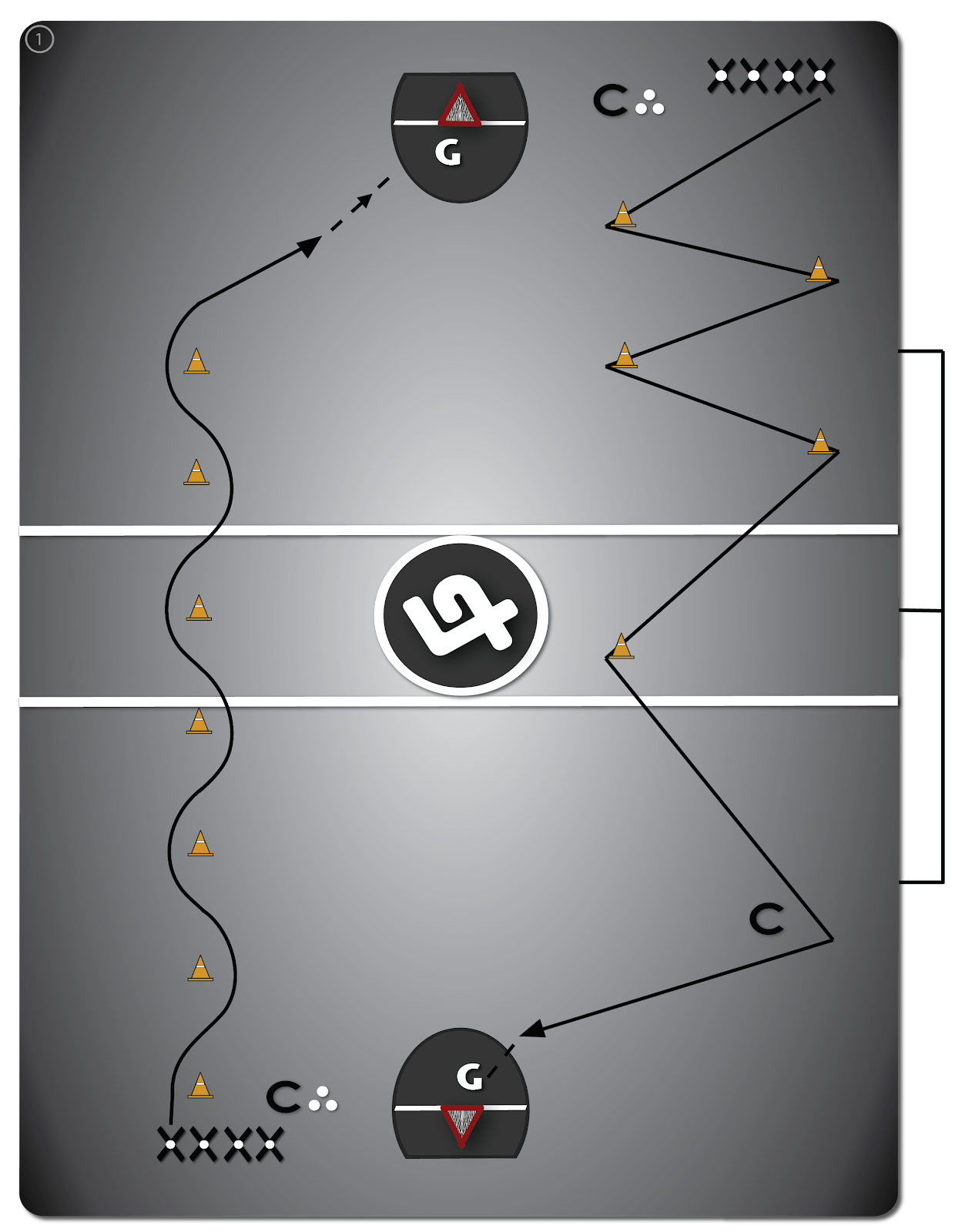 """Lacrosse Drill: Dodges, """"Dodging Around Cones"""" players move around pylons and practice dodges, finishing with a shot-on-the-run"""