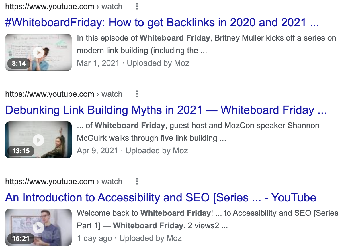 A screenshot of Google's results for Moz's Whiteboard Friday videos