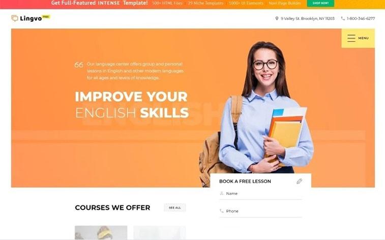 лучший бесплатный шаблон темы ботстрапа веб-сайт электронное обучение онлайн-школа изучение языка