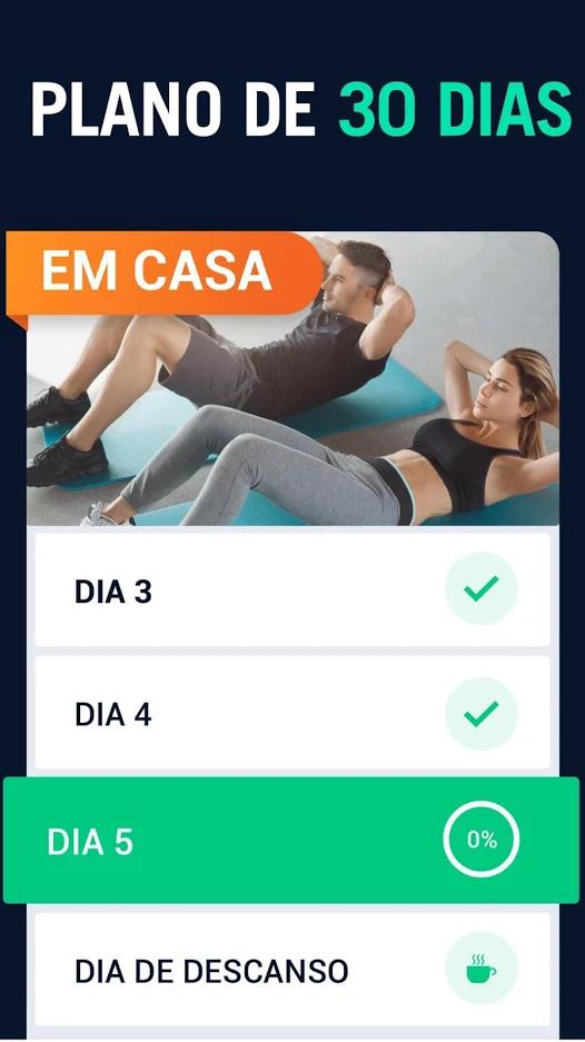 Captura de tela do Desafio 30 Dias mostrando o progresso do 5º dia de exercícios.