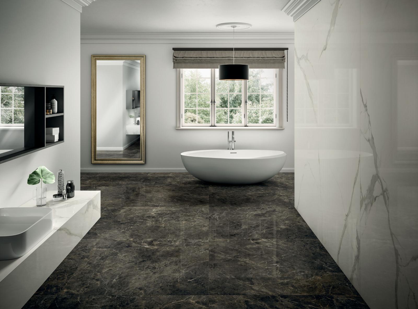 Stone-look square gauged porcelain tile bathroom flooring