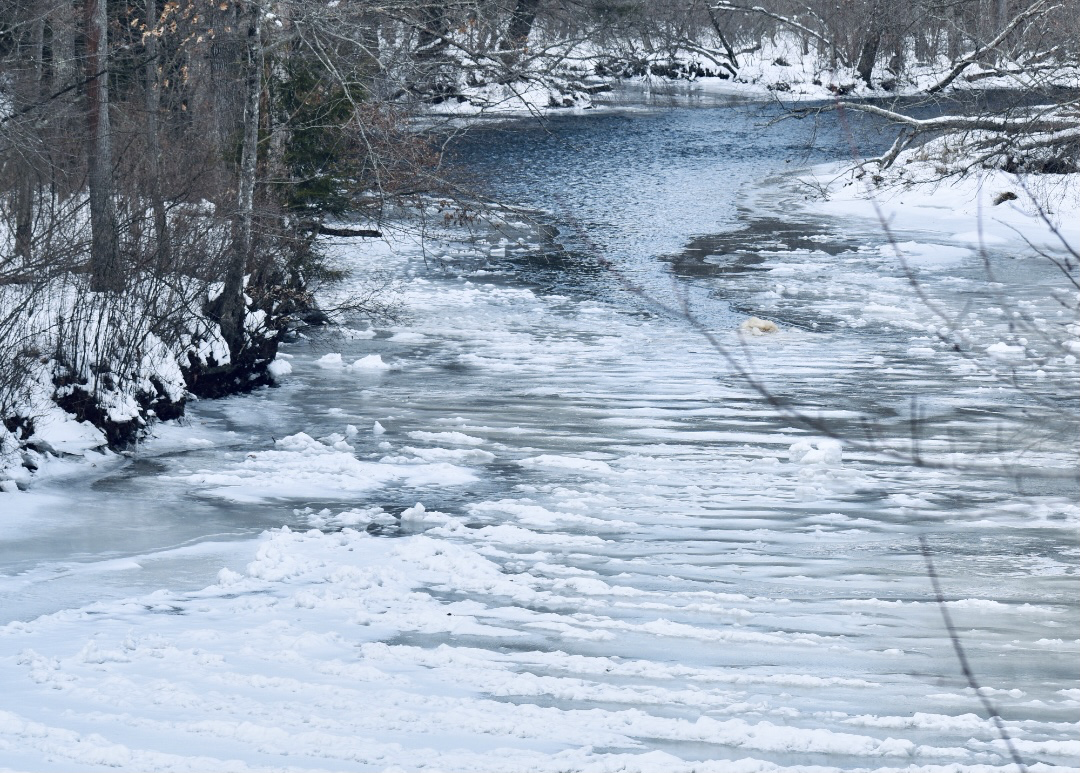 A view of the Willimantic River in Winter, another river which powered the thread mills in Willimantic, CT.