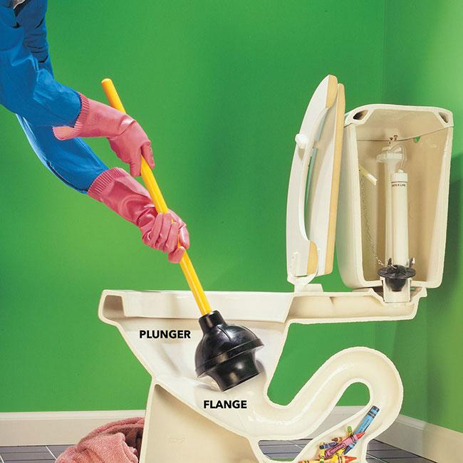 Thông tắc nhà vệ sinh bằng việc dùng pittong cao su