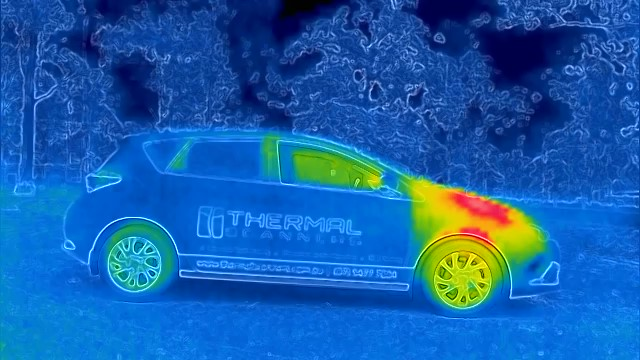 Thermal image of Thermal Scanners car, in rainbow spectrum.