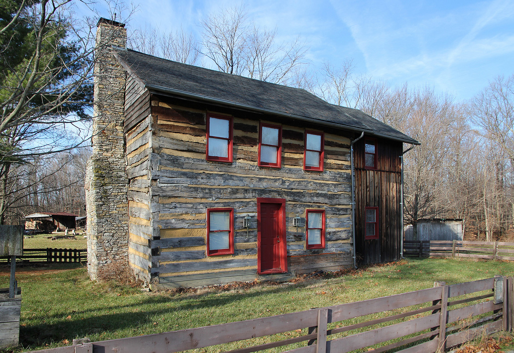 lodge with red door and windows at Caesar Creek State Park