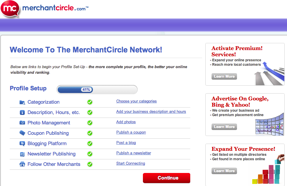 MerchantCircle_Profile Setup