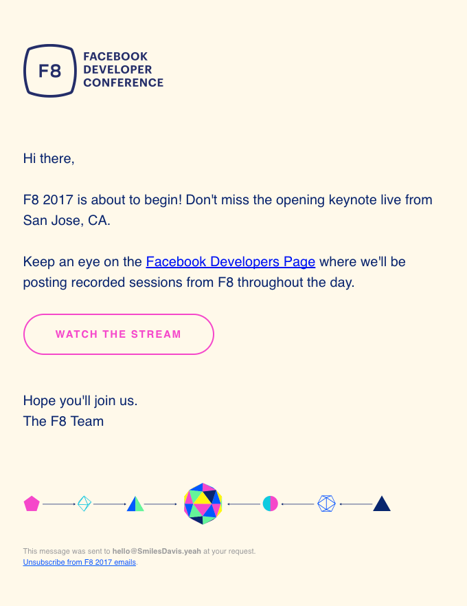 Facebook Developer Conference event invitation email design