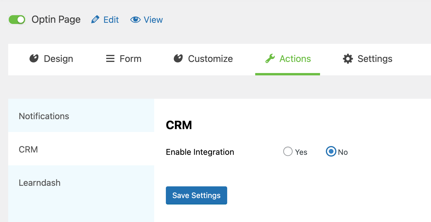 Enable integration with CRM