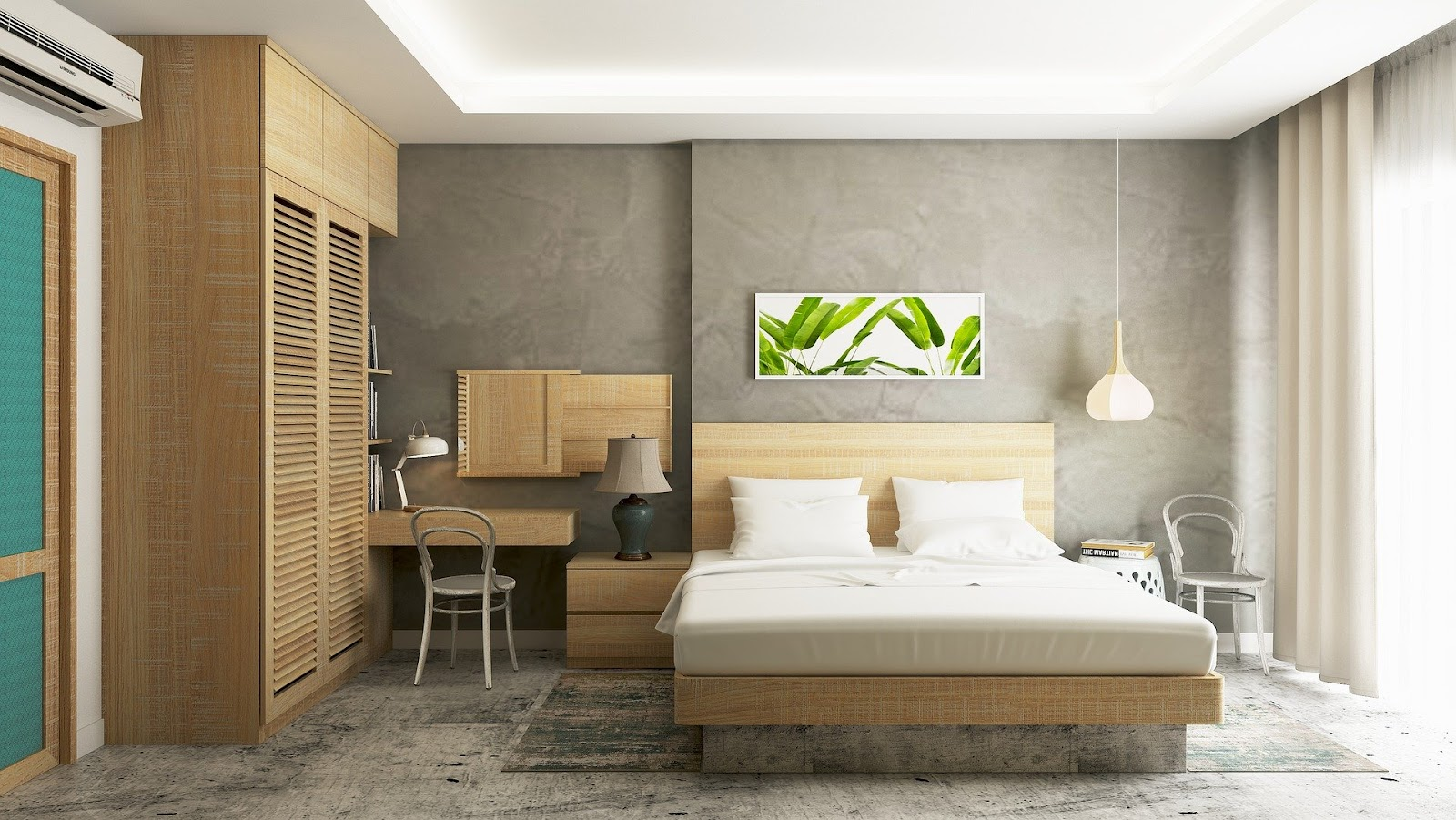 Um quarto com uma escrivaninha junto ao guarda-roupa, uma cama com o mesmo material do guarda-roupa e um quadro de plantas.