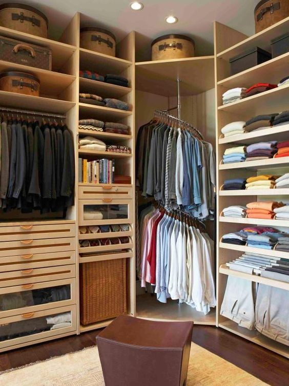 Use A Spiral Clothes Rack for the Corner of Your Small Walk-in Closet