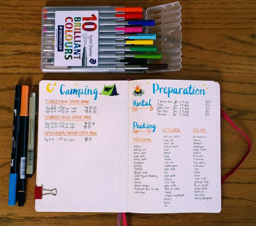 A camping bullet journal theme that can easily be a September bullet journal theme