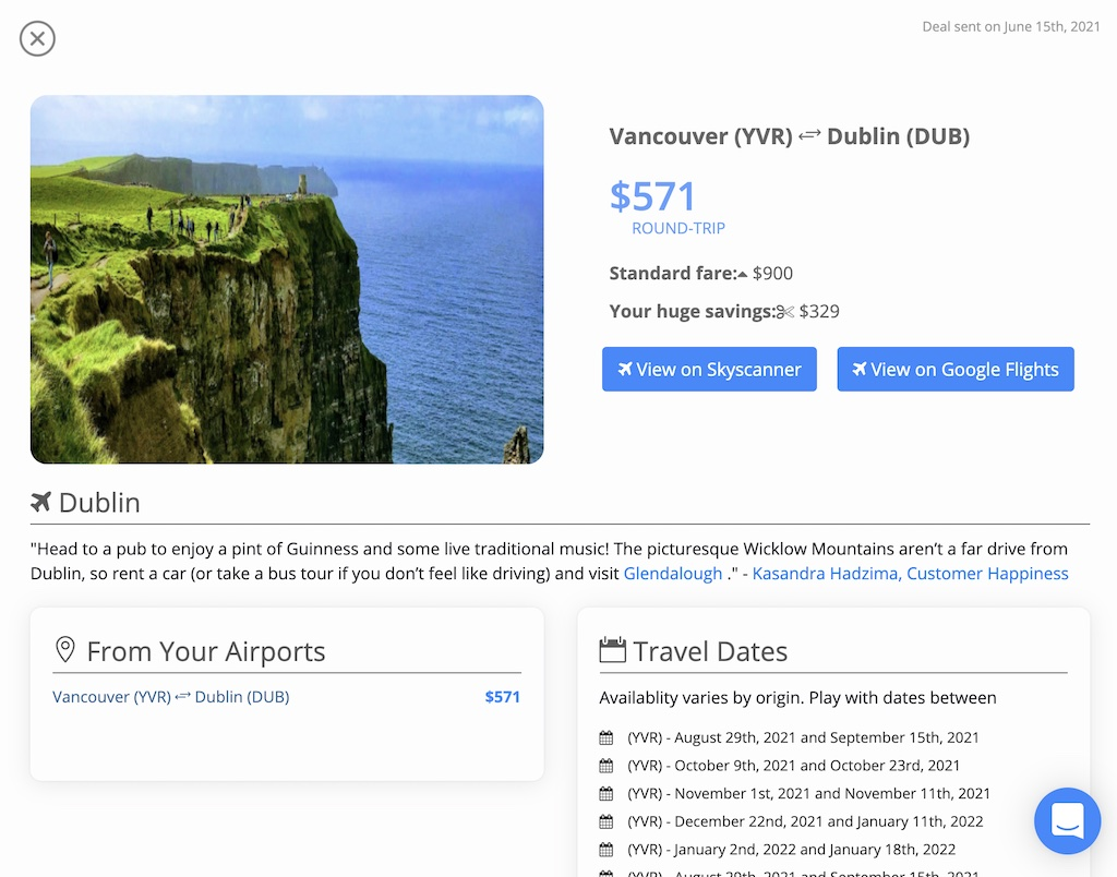 """Dollar Flight Club's """"deal summary"""" page outlines everything you need to know to secure the airfare deal as advertised."""