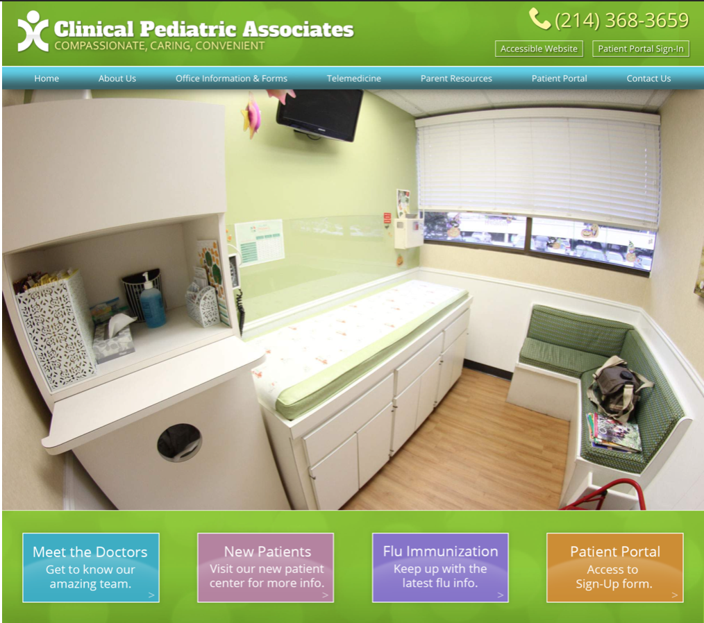Pediatrician Website Example #1 with Analysis