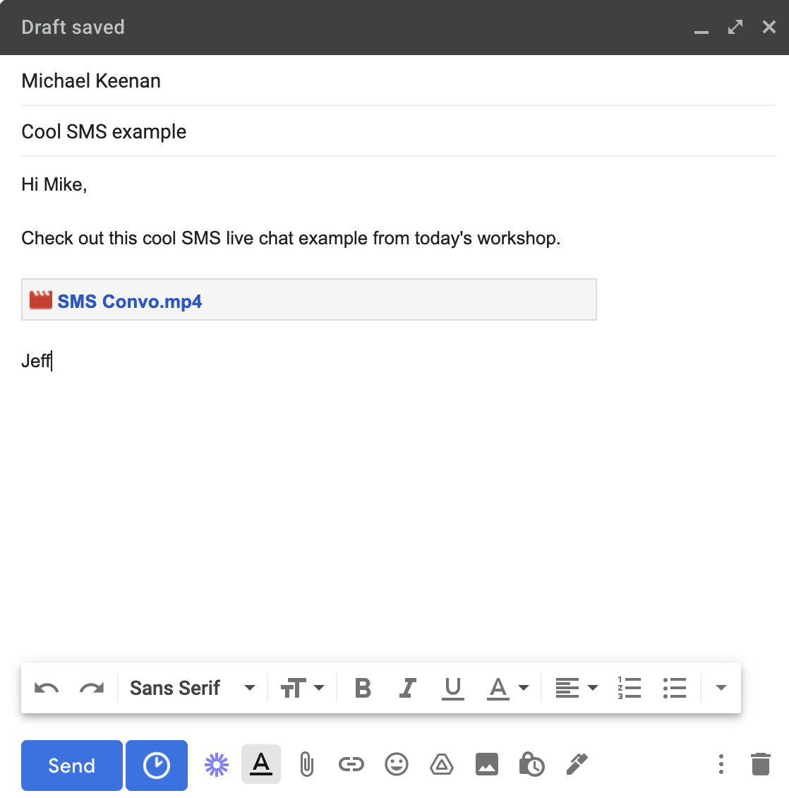 Drive video in gmail