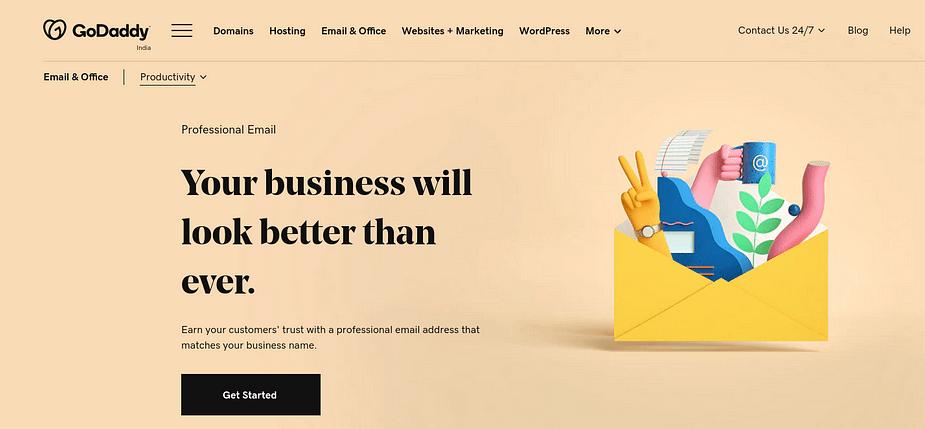 Trang Email Chuyên nghiệp của GoDaddy.