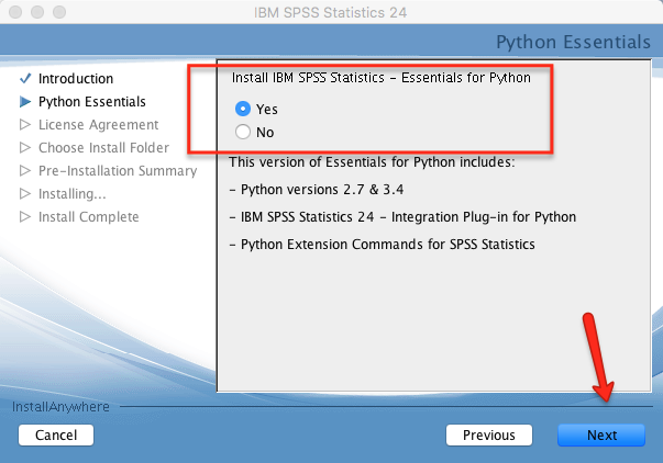 Install SPSS for Python
