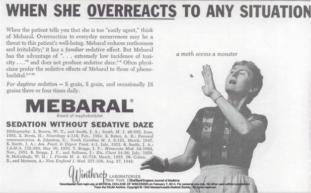 A printed ad about benzodiazepines.