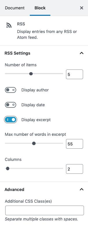 Screen shot Block Settings for RSS block