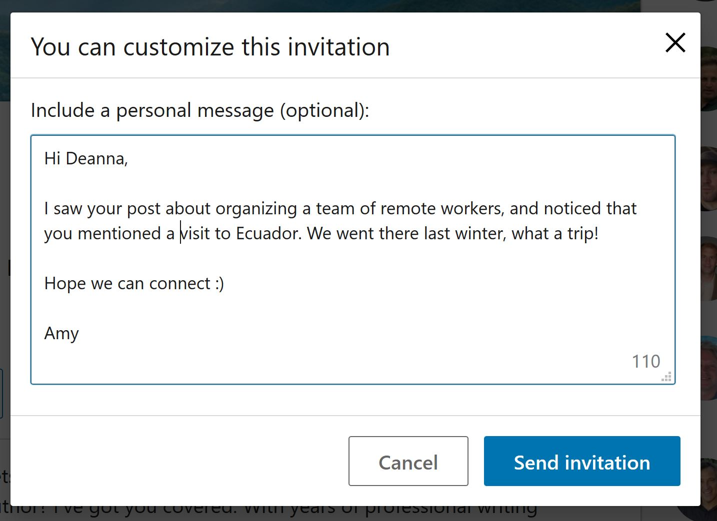 a custom linkedin invitation can help sales prospecting