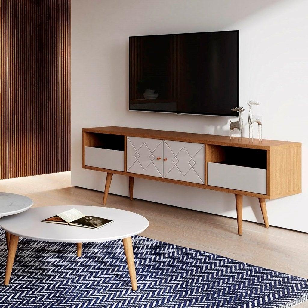 Tủ gỗ đơn giản có chân cao cùng kiểu với bàn phòng khách