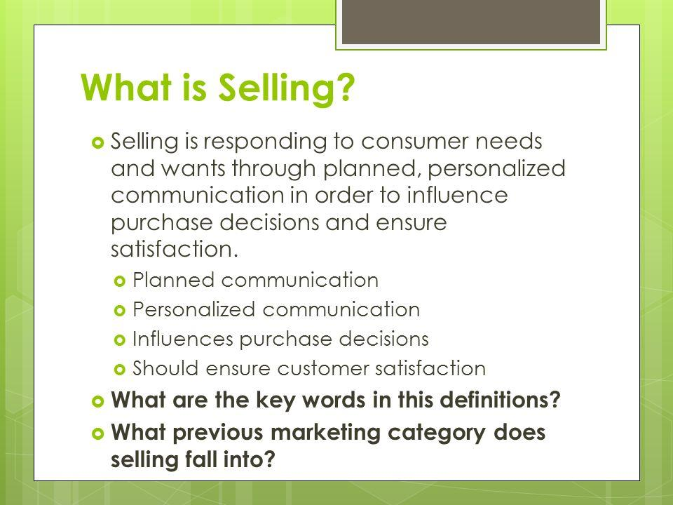 what is selling in marketing