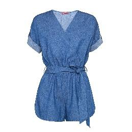 A person wearing a blue dress Description automatically generated