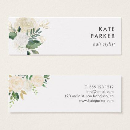 Pale Watercolor Floral Sided Arrangement Mini Business Card - stylist business card business cards cyo stylists customize personalize
